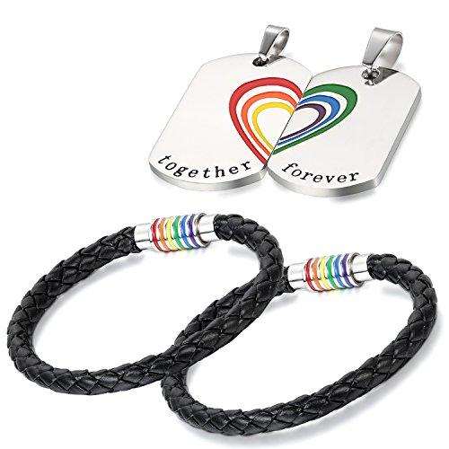 Phogary Gay Pride Armband LGBT Regenbogen Armband (2 Stück) Paar